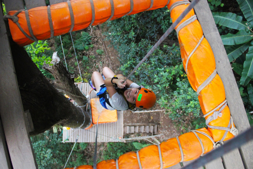 vertical drop at zip lining with Skyline Adventure | Laugh Travel Eat