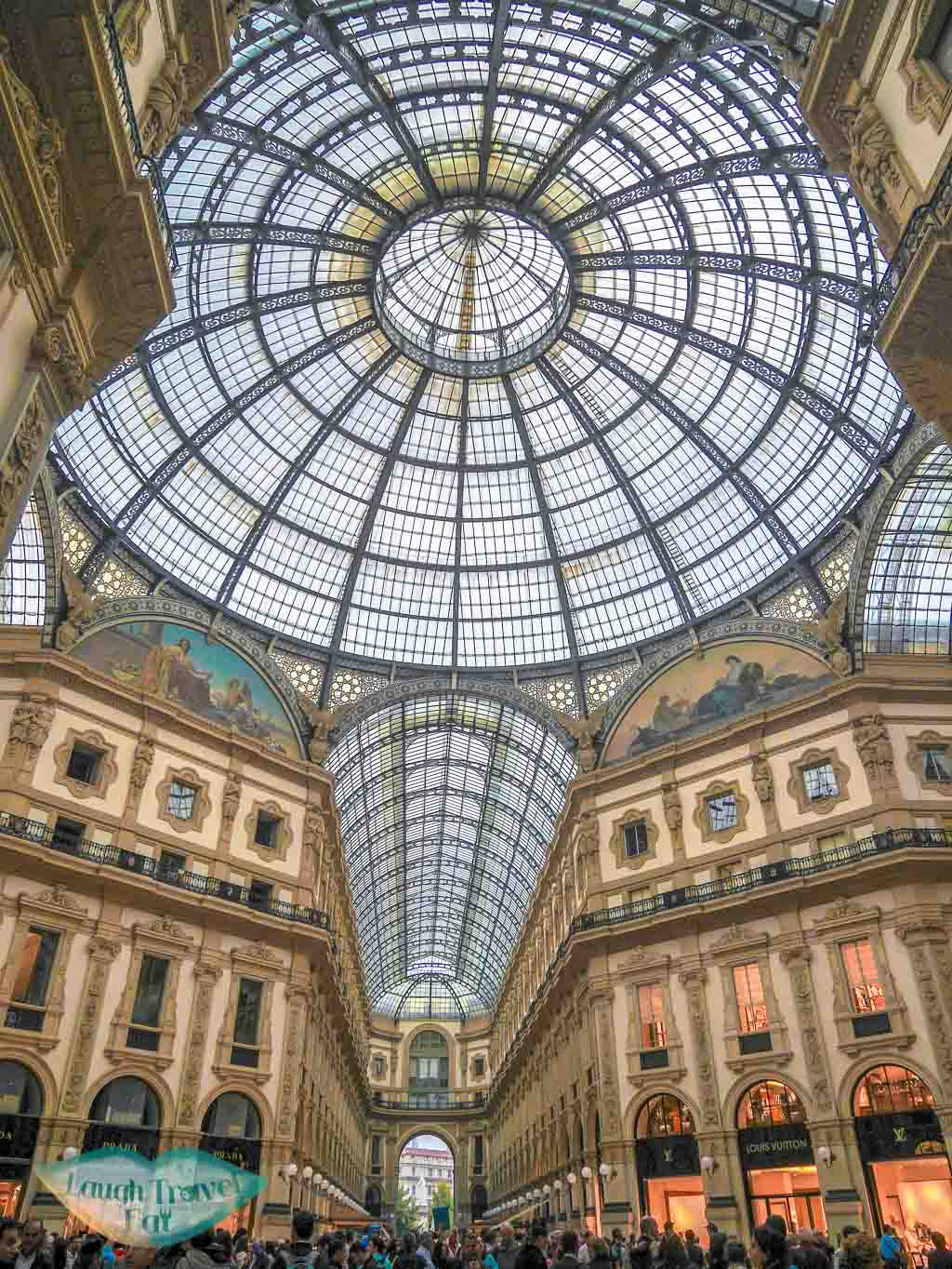 The glass and iron vault ceiling!, Galleria Vittorio Emanuele II, Milan, Italy - Laugh travel eat