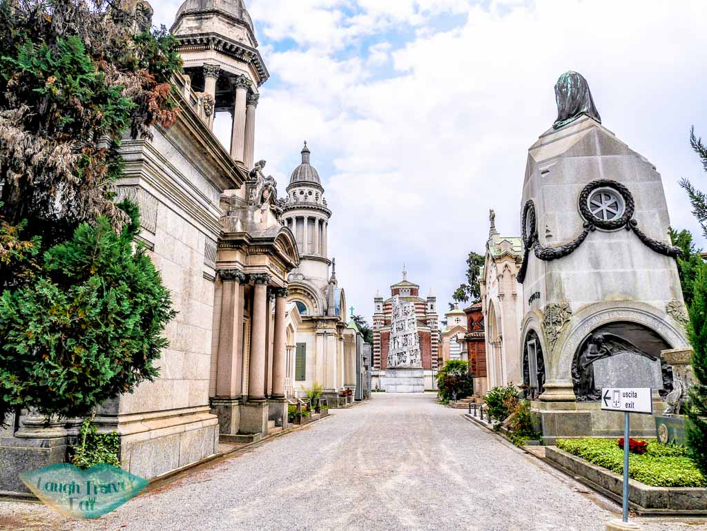The taller graves and Mausoleum in Monumental Cemetery (Cimitero Monumentale) Milan Italy- laugh travel eat