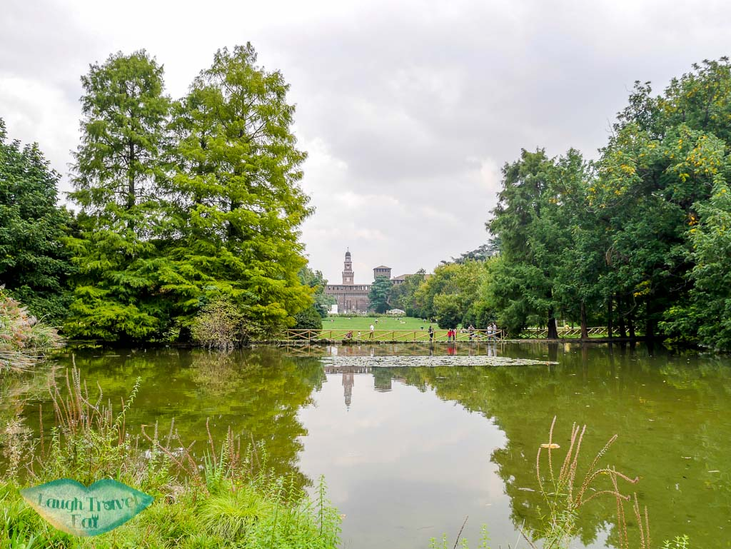 View from the Sempione park back towards the Sforza Castle, Milan, Italy - laugh travel eat