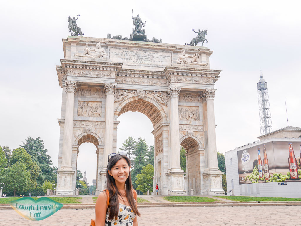 front of Arch of Peace, Milan, Italy - laugh travel eat
