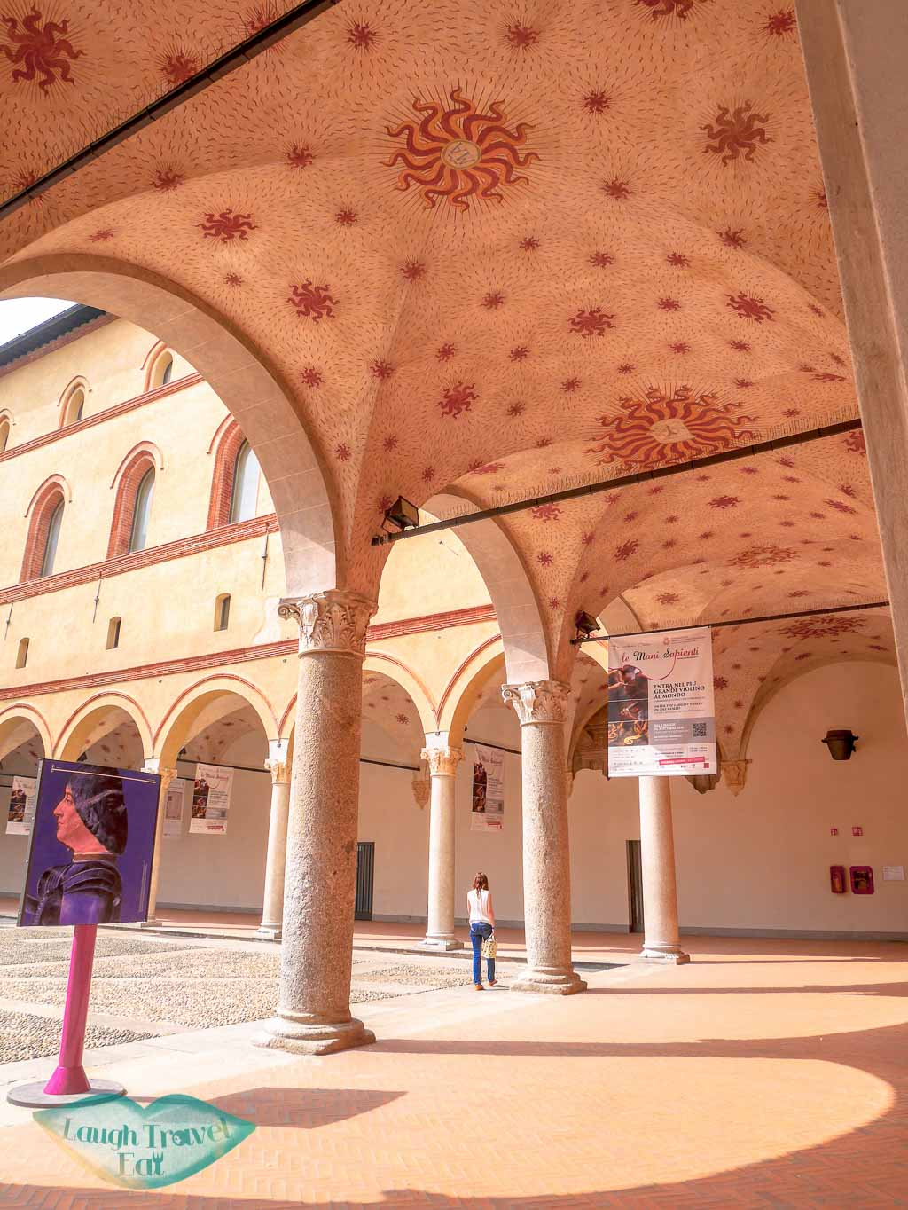 inner courtyard Sforza Castle, Milan, Italy - laugh travel eat