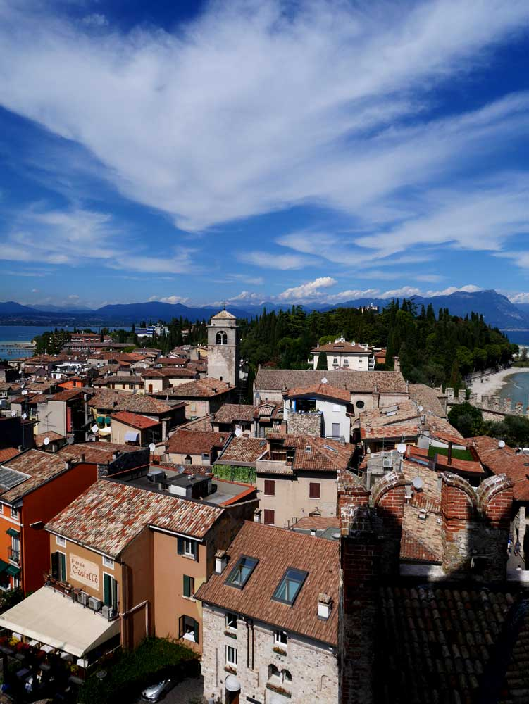 Stunning view of the entire town of Sirmione view from the castle tower, Scarliger castle, sirmione, italy | Laugh Travel Eat