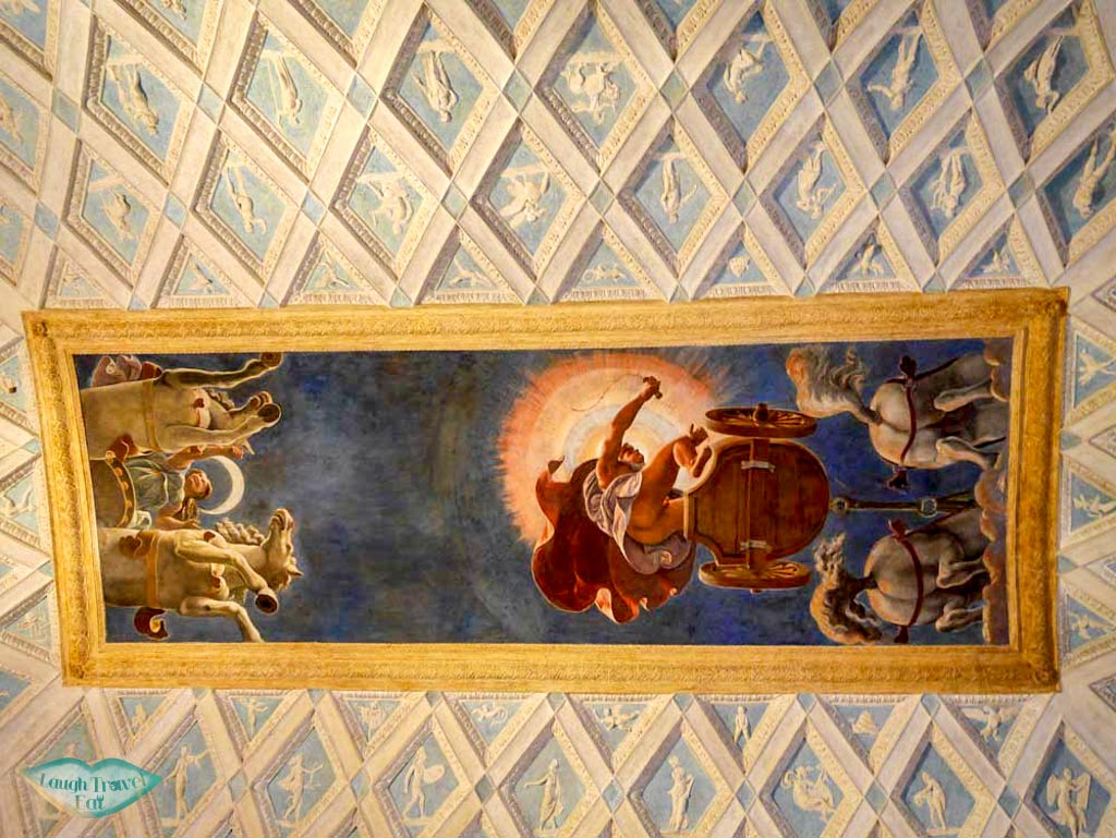 sun and moon ceiling Salotto (living room) of Palazzo Te, Mantua, Italy | Laugh Travel Eat