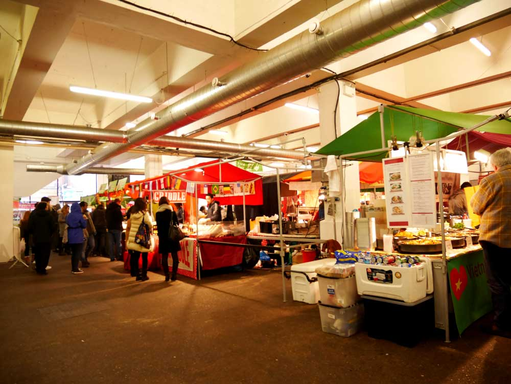 Street food stalls, Sunday Up Market, East London, UK | Laugh Travel Eat
