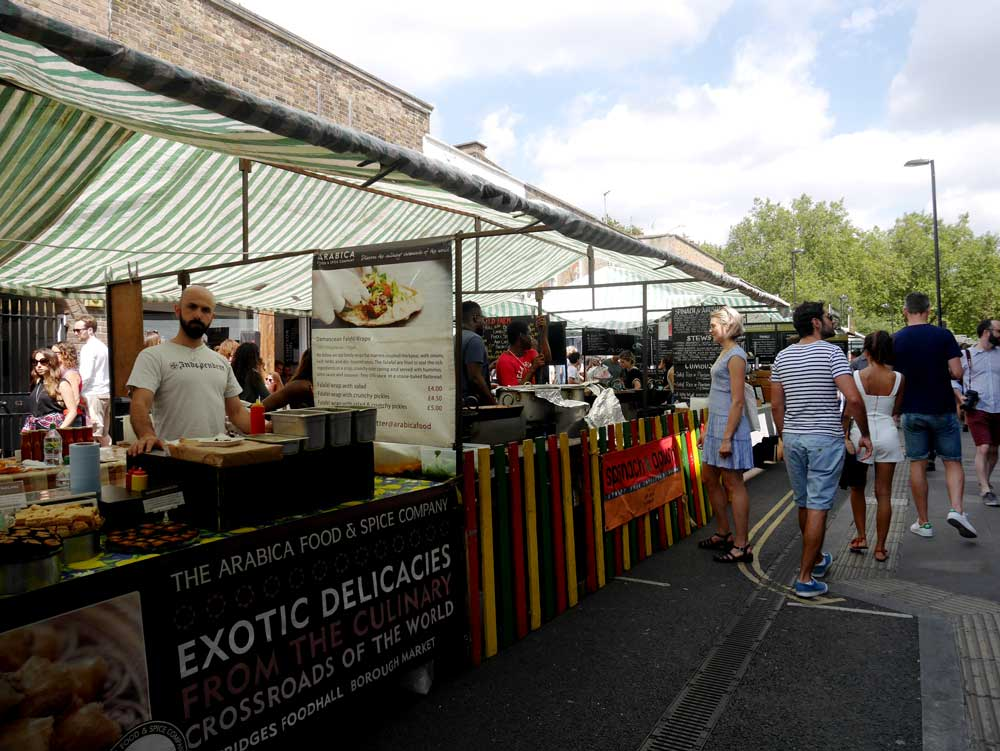 Street food stores along Broadway Market, East London, UK | Laugh Travel Eat