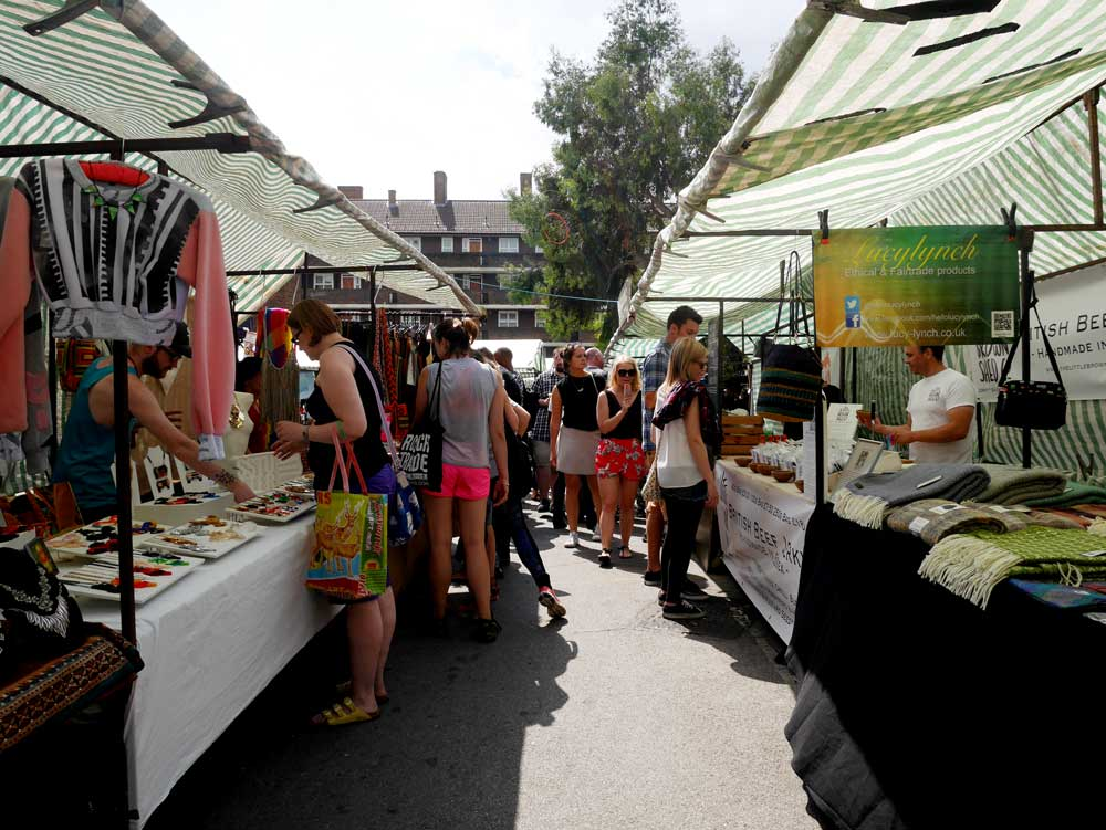 A school yard has temporarily becomes a market during Sunday, Broadway Market, East London, UK | Laugh Travel Eat