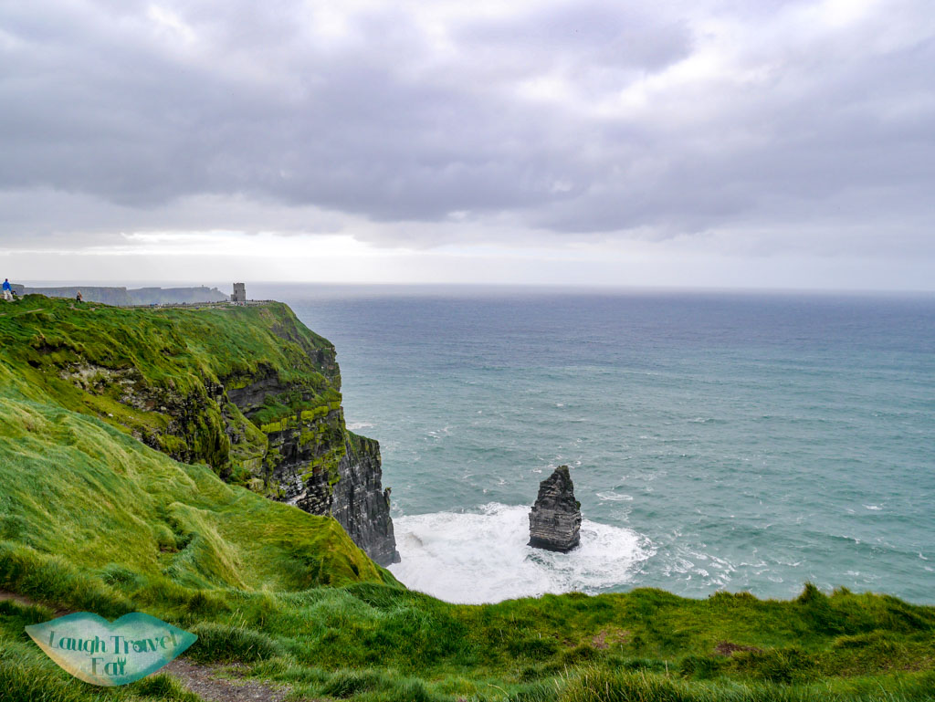 Ciff-of-Moher-with-a-stack-detached-from-the-cliff-rail-tour-dublin-Ireland-Laugh-Travel-Eat