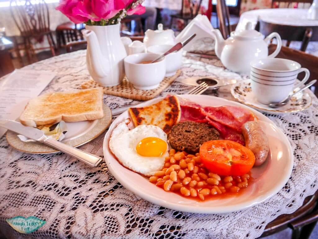 Full Scottish breakfast in Edinburgh with traditional tea sets - Laugh Travel Eat