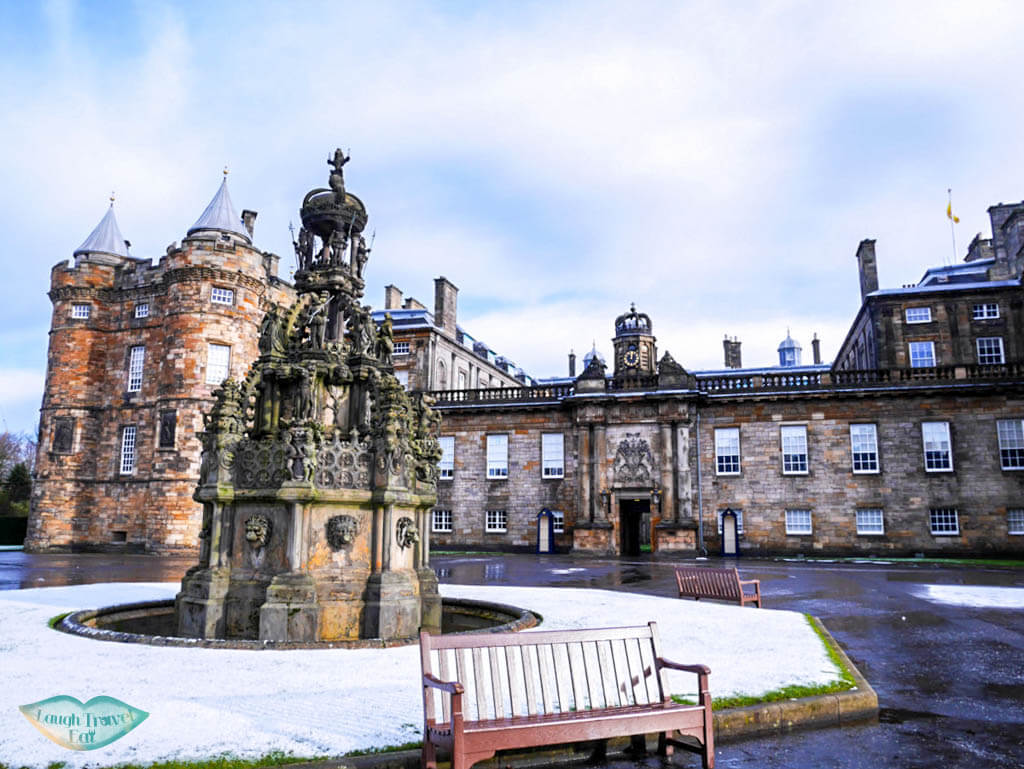 Holyrood Palace in snow Edinburg Laugh Travel Eat