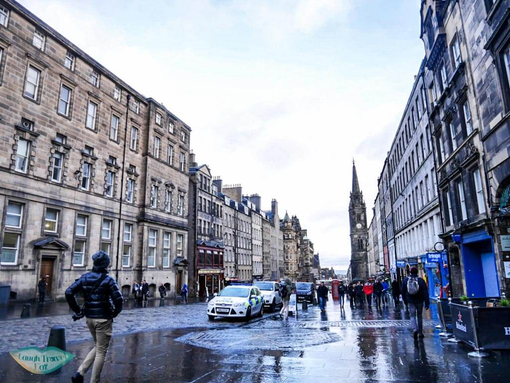One section of the Royal Mile after rain - Laugh Travel Eat