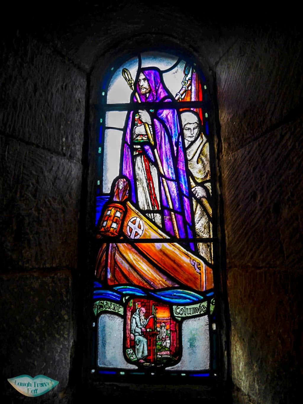 Stain glass window inside St. Margaret's Chapel depicting a saint edinburgh Laugh Travel Eat