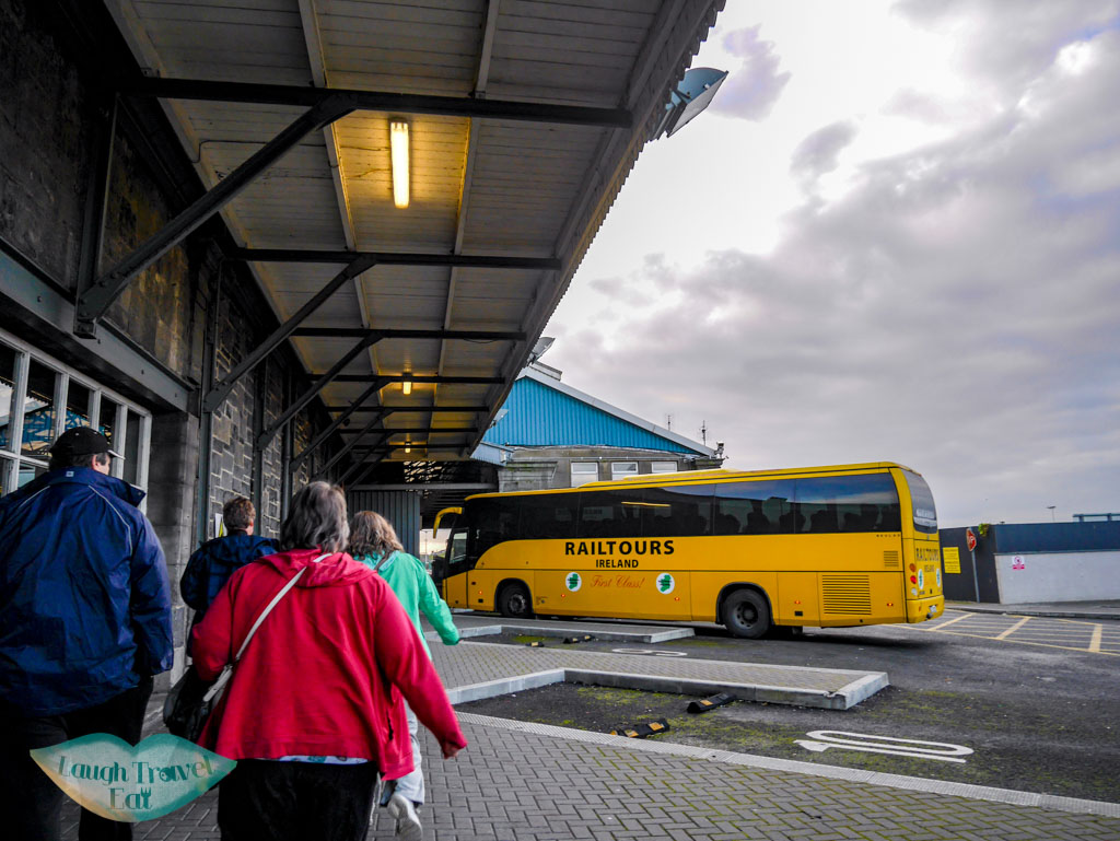 Yellow-coach-of-the-railtour-waiting-for-us-at-the-Limerick-station-rail-tour-dublin-Ireland-Laugh-Travel-Eat