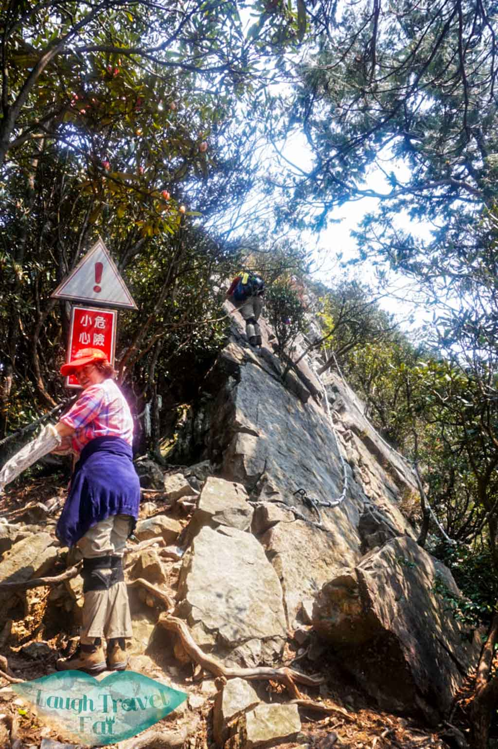 Change from forest trail to rock trail up to Yuan Zui Mountain in Dasyueshan National Forest Recreational Area, Taichung - Laugh Travel Eat