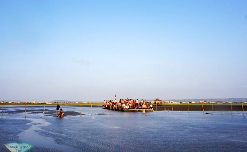Crowd gathered at the end of Kaomei Wetland promenade in Taichung Taiwan | Laugh Travel Eat