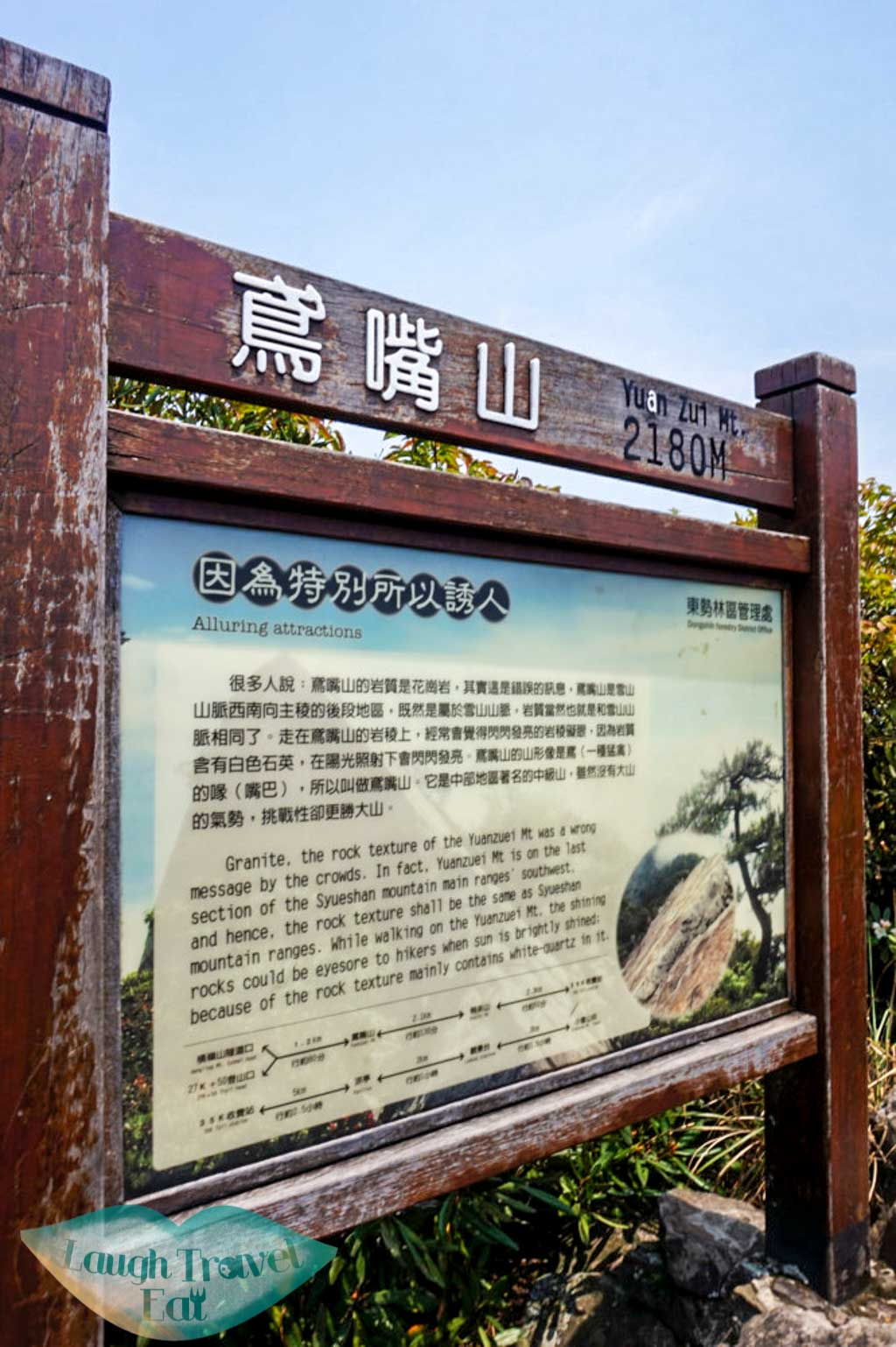 Notice board with information of Yuan Zui Mountain in Dasyueshan National Forest Recreational Area, Taichung - Laugh Travel Eat