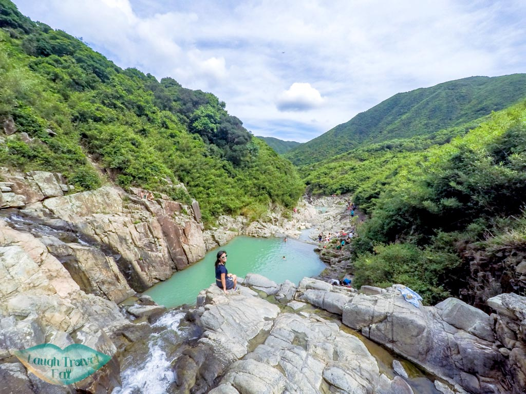 On-top-of-the-four-consecutive-pools-and-falls-Sai-Kung-Hong-Kong-Laugh-Travel-Eat