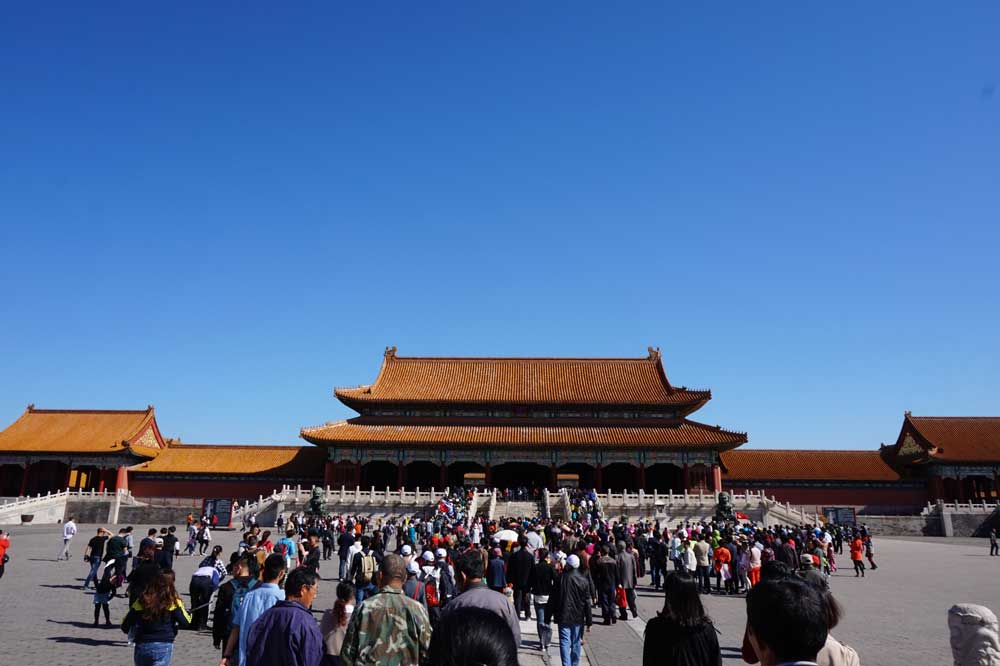 A flood of people heading to the Gate of Supreme Harmony, Forbidden City, Beijing | Laugh Travel Eat