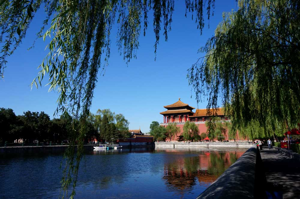 The moat and one of the corner towers, forbidden city, beijing | Laugh Travel Eat
