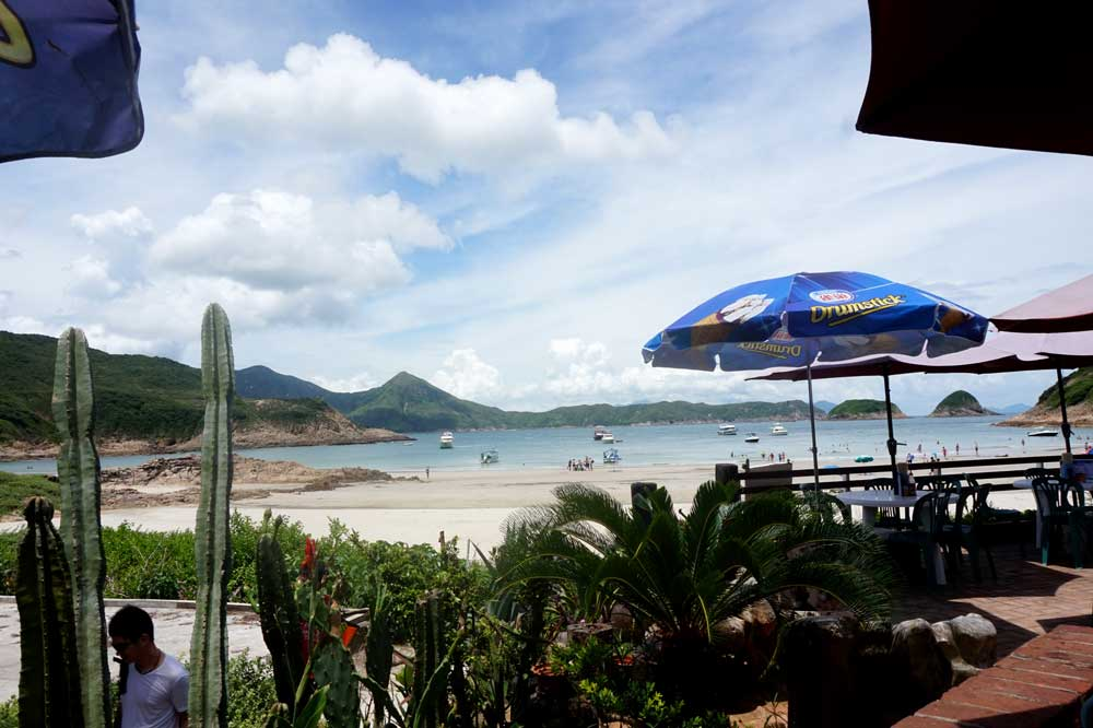 Sai Wan beach viewed from the cafe we sat by, Sai Wan, Sai Kung, Hong Kong | Laugh Travel Eat
