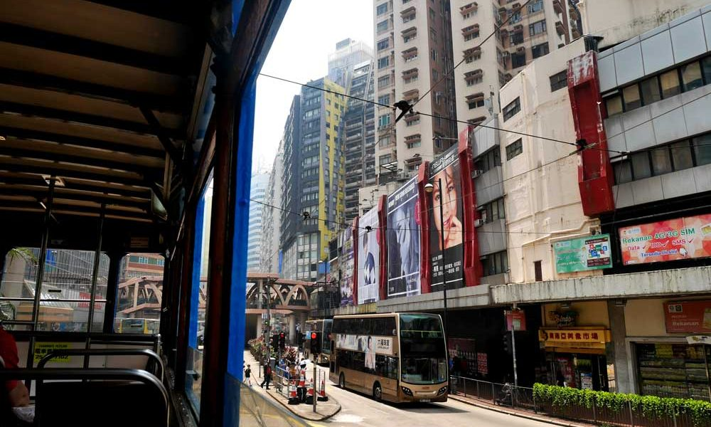 Getting a good view of Hong Kong from my second decker seat on the tram!, Hong Kong | Laugh Travel Eat
