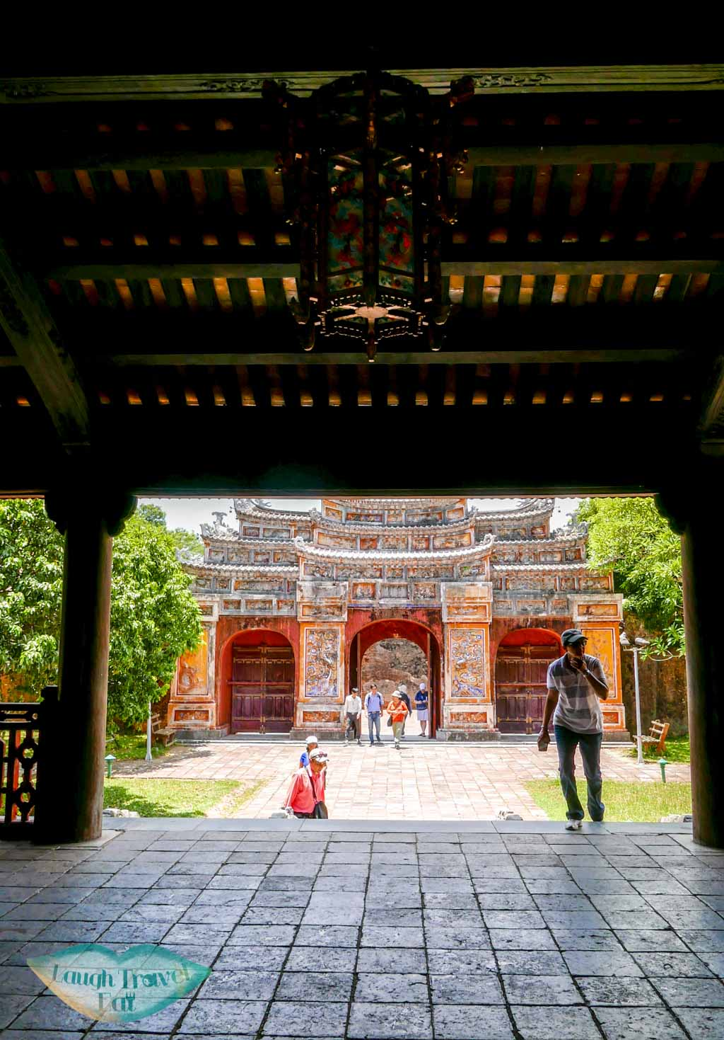 A beautiful courtyard facing the gate, Hue Citadel, Hue, Vietnam - Laugh Travel Eat