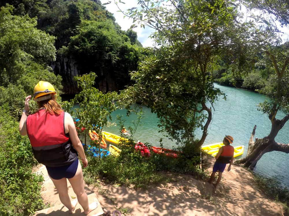 Heading down for a quick swim into the cave after ziplining, Dark Cave, Phong Nha | Laugh Travel Eat
