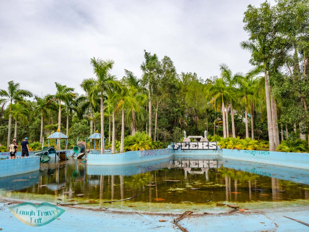 water slides abandoned water park hue vietnam - laugh travel eat