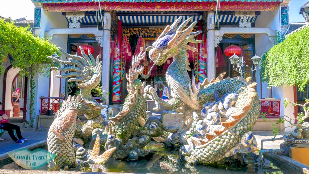 dragon satues in fountain, Quang Trieu Assembly Hall, Hoi An, Vietnam - Laugh Travel Eat
