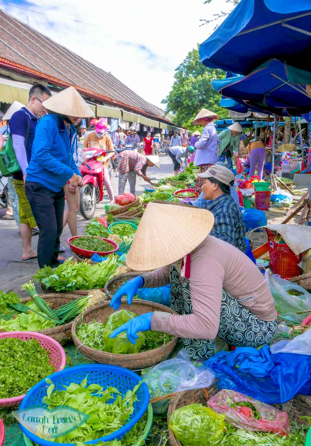 veggie store in central market, Hoi An, Vietnam - Laugh Travel Eat