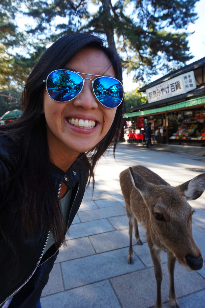 Selfie with Nara Deer at Nara | Laugh Travel Eat