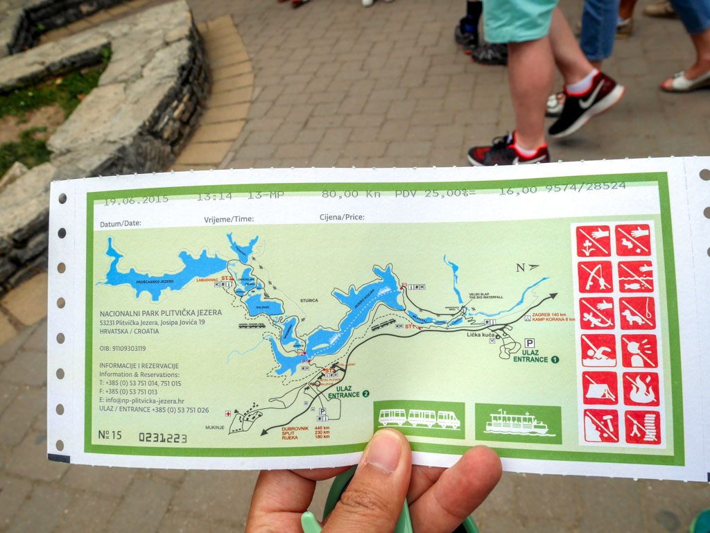 back of ticket plitvice national park croatia