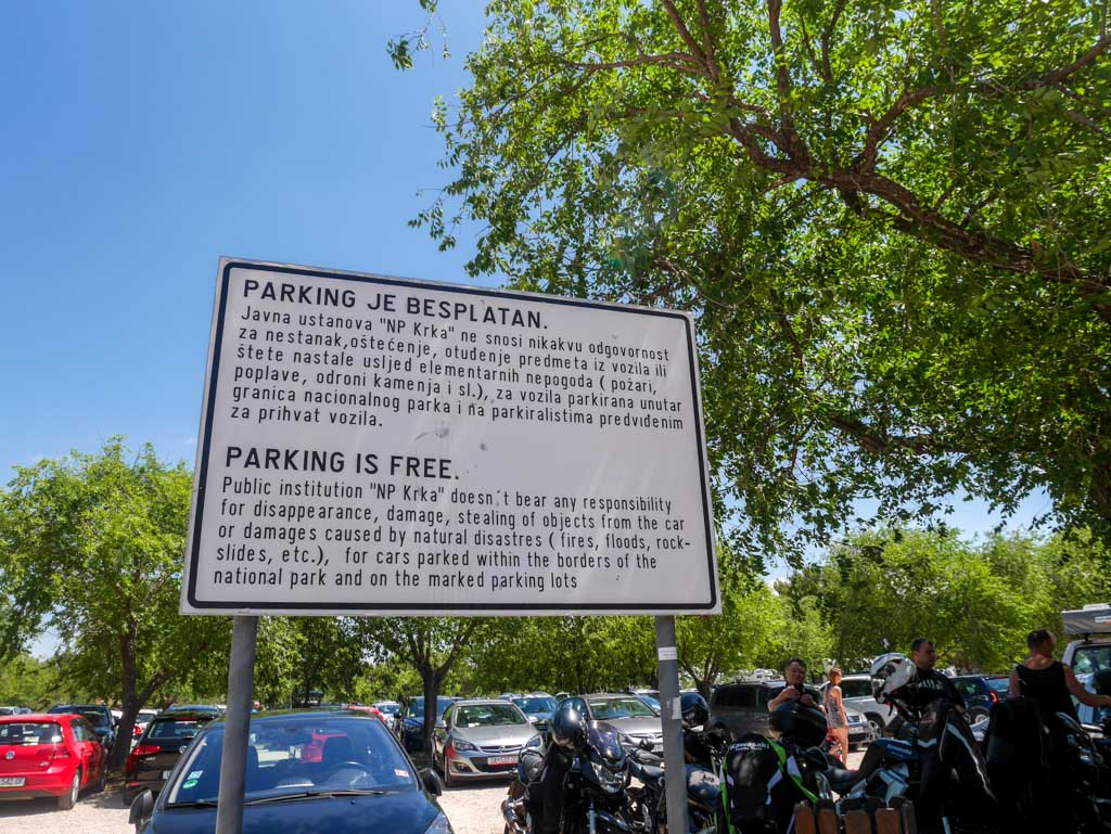 krka national park official parking lot free croatia