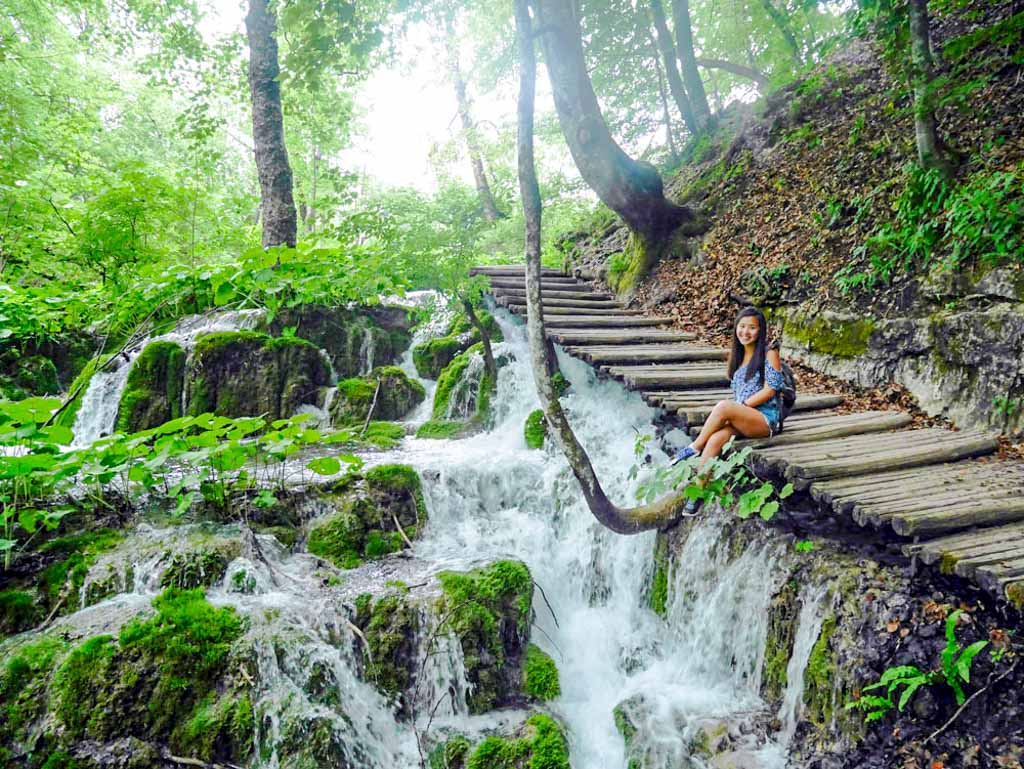 me on a path next to waterfall plitvice national park croatia