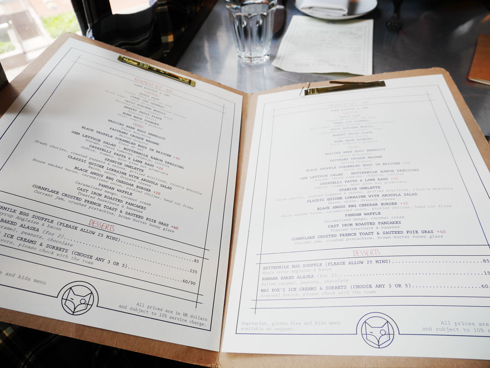 Menu of Mr and Mrs Fox brunch, Quarry Bay, Hong Kong | Laugh Travel Eat