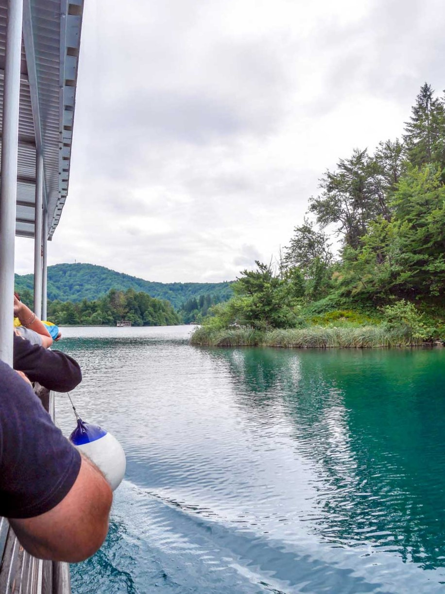 on tourist boat across lake plitvice national park croatia