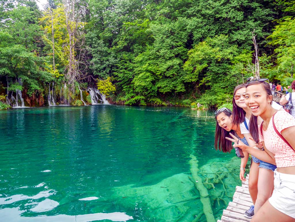 photo next to clear lake plitvice national park croatia
