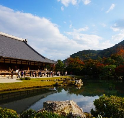 autumn colour at the garden of Tenryu-ji temple in Arashiyam, Kyoto, Japan | Laugh Travel Eat