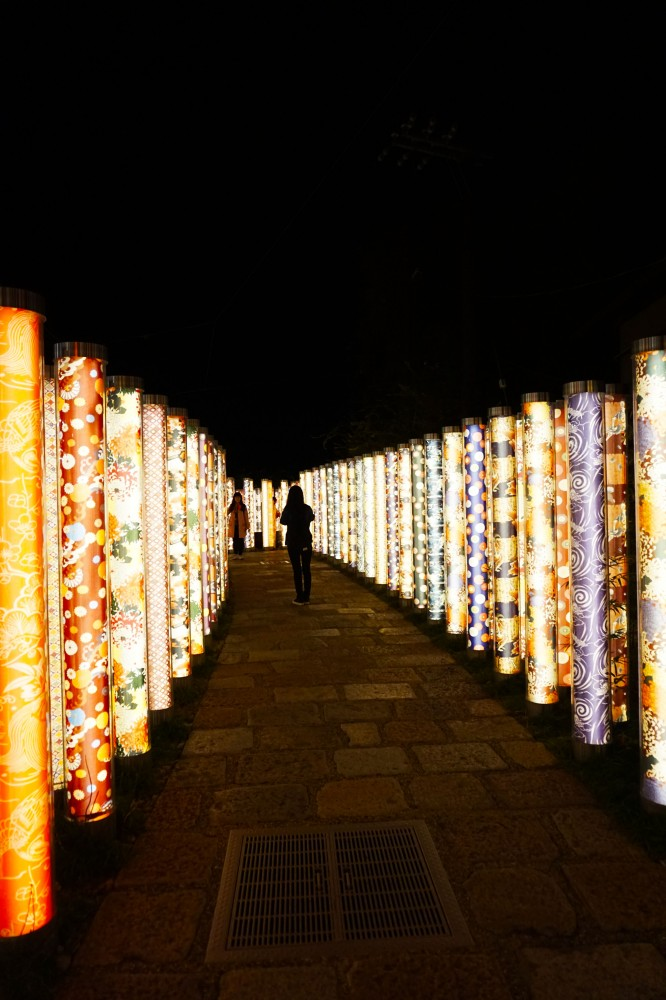 Kimono Forest at night at JR Arashiyama station, Arashiyama, Kyoto, Japan | Laugh Travel Eat