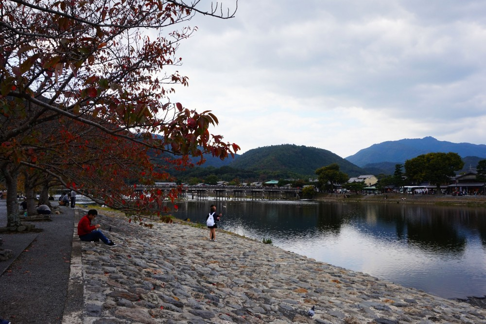 autumn foilage on the bank of river at Arashiyama, with Togetsukyo Bridge and Arashiyama in the background | Laugh Travel Eat