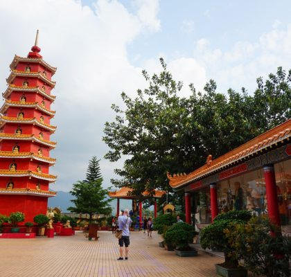 Interior of ten thousand buddhas monastery with pagoda, Shatin, Hong Kong | Laugh Travel Eat