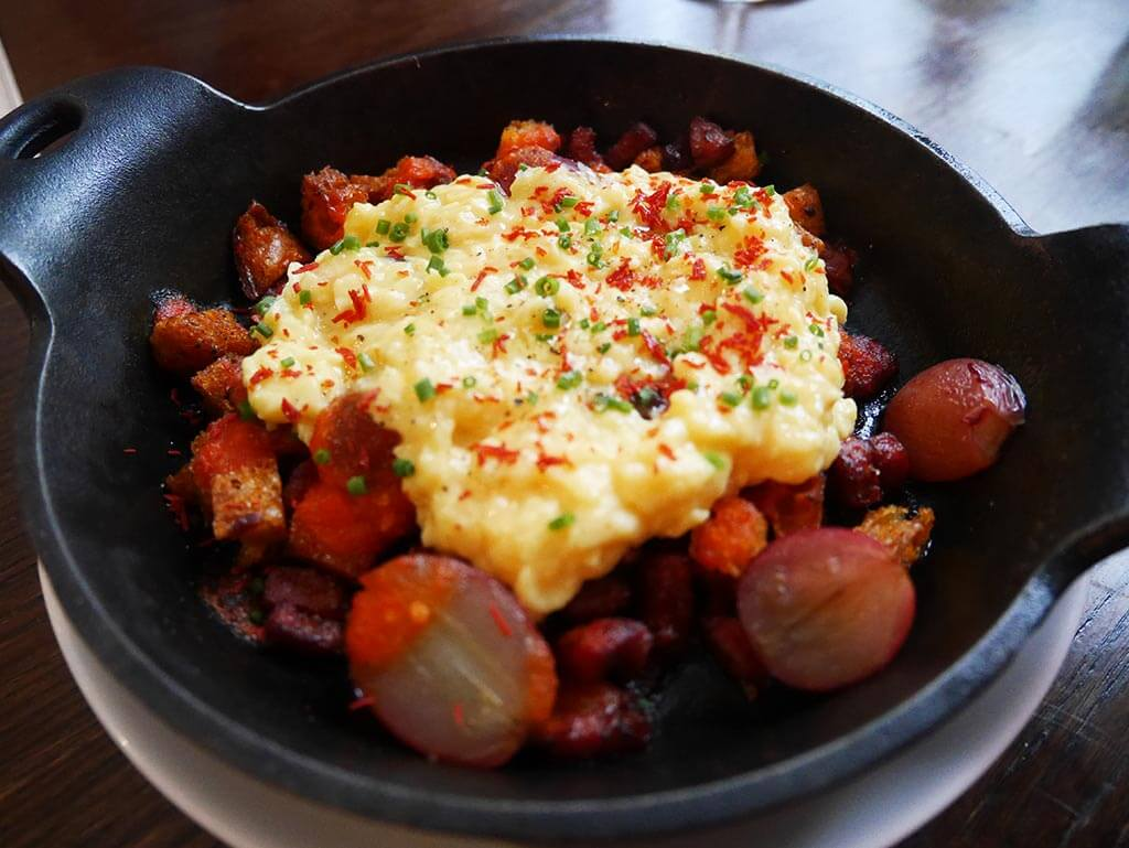 chorizo grape scramble egg, Ham and Sherry, Hong Kong | Laugh Travel Eat