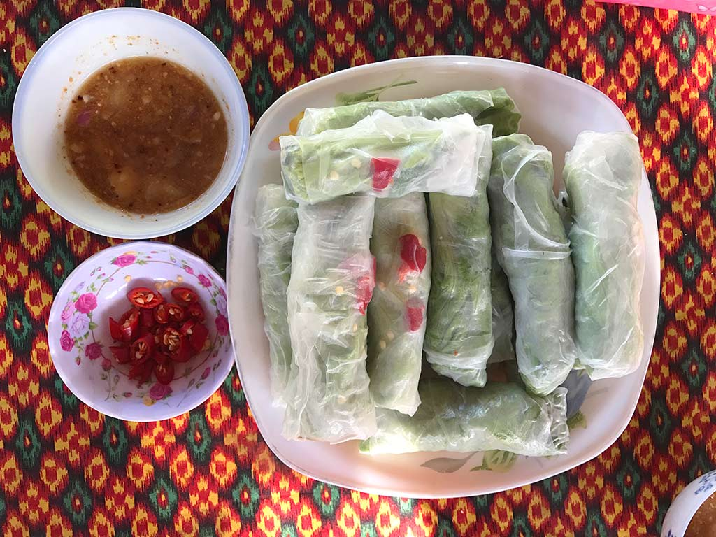 Rice paper spring rolls, siem reap countryside cooking class, cambodia | Laugh Travel Eat