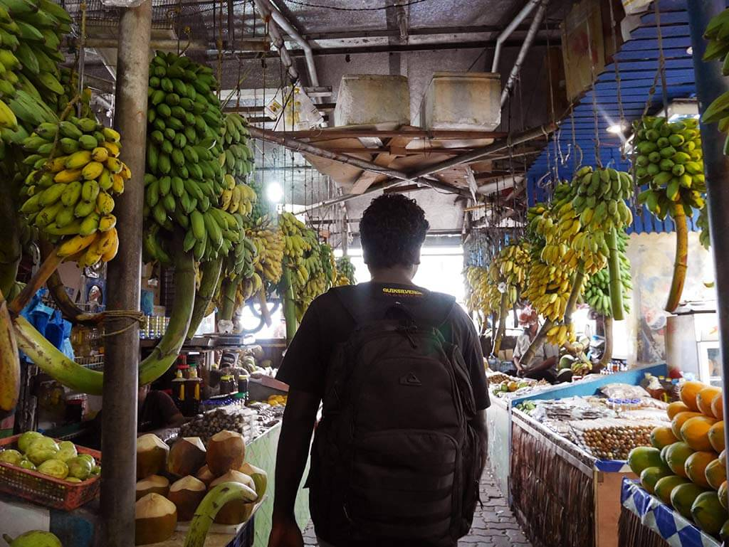 inside the travelers market with fruits in Male, Maldives | Laugh Travel Eat
