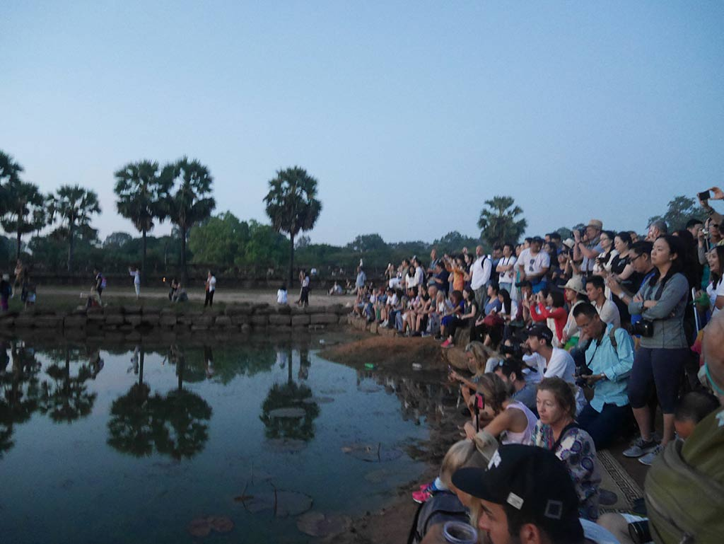 Angkor Wat sunrise reflection pool crowd, Cambodia | Laugh Travel Eat