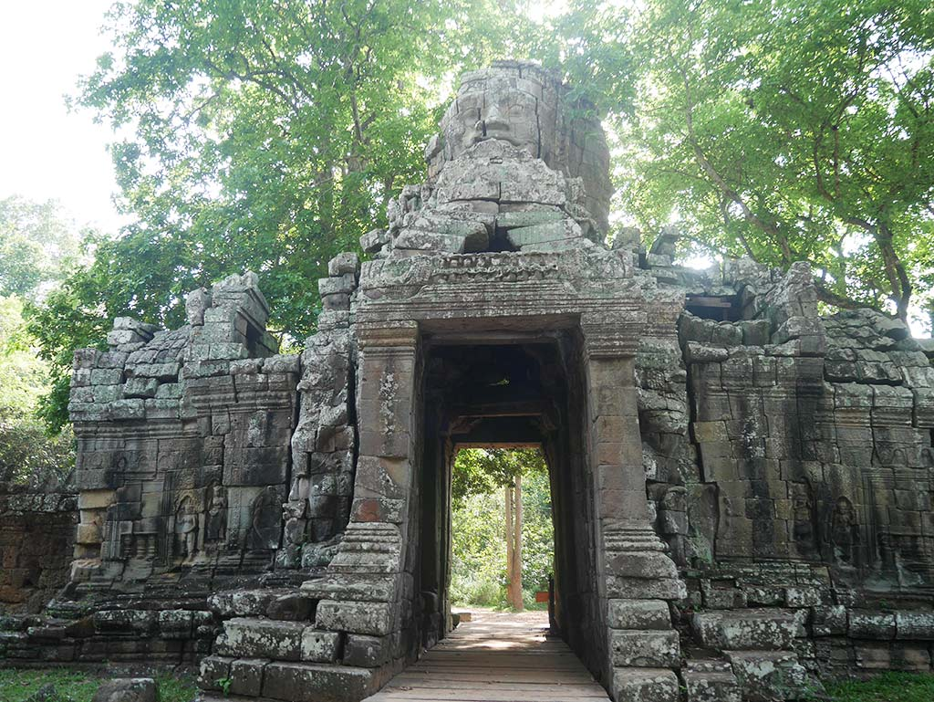 banteay kdie temple gate smiling buddha, Angkor Thom, Cambodia