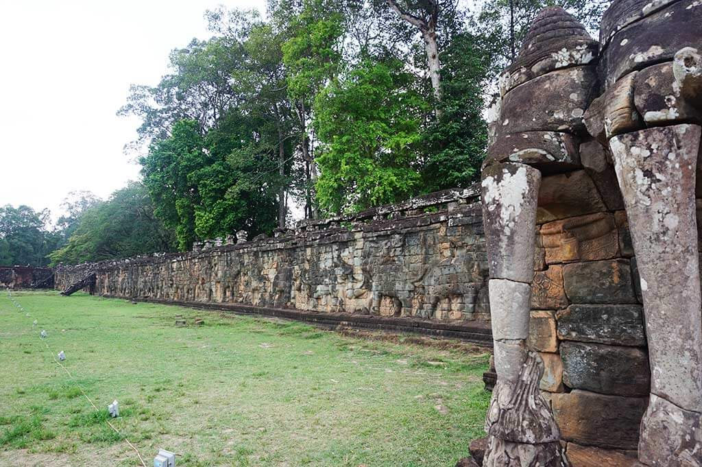 Elephant Statues at the base of Elephant Terrace, Angkor Thom, Cambodia