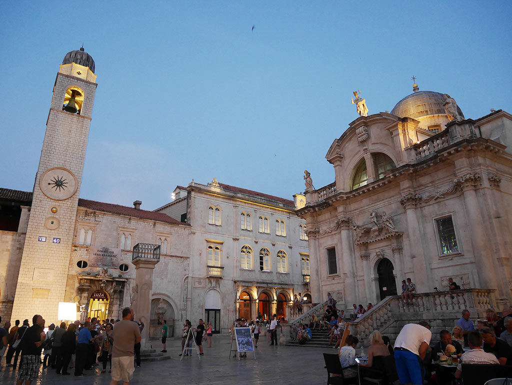 dubrovnik at night facing clock tower and st blaise church, Croatia | Laugh Travel Eat