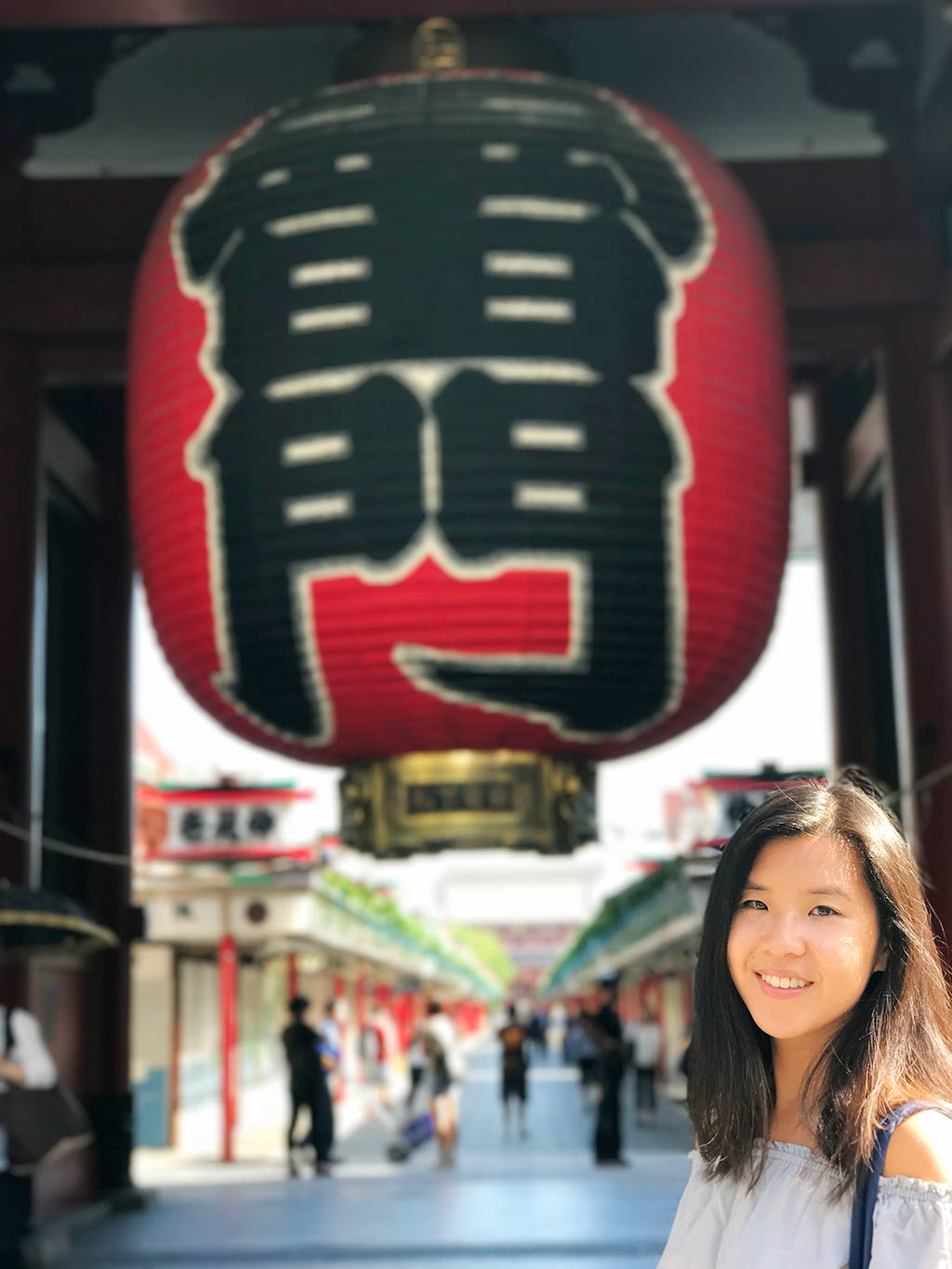 Kaminarimon with me in front, using iphone portrait mode, asakusa taito, tokyo, japan   Laugh Travel Eat