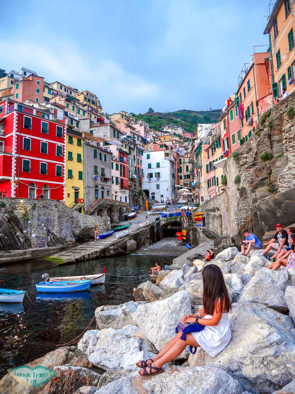 me at rocky beach riomaggiore cinque terre italy | Laugh Travel Eat
